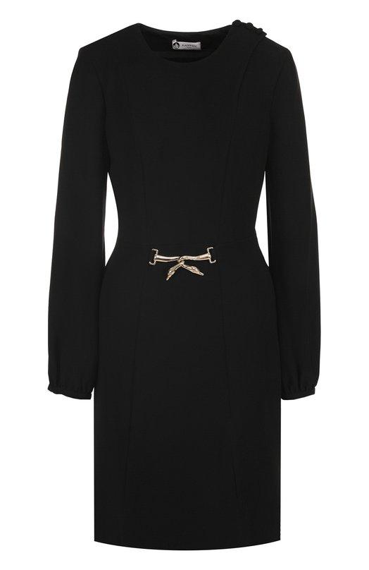 Купить Приталенное платье-миди с длинным рукавом Lanvin, RW-DR218K-3504-A17, Словакия, Черный, Подкладка-шелк: 95%; Подкладка-эластан: 5%; Отделка-металл: 100%; Полиэстер: 100%;