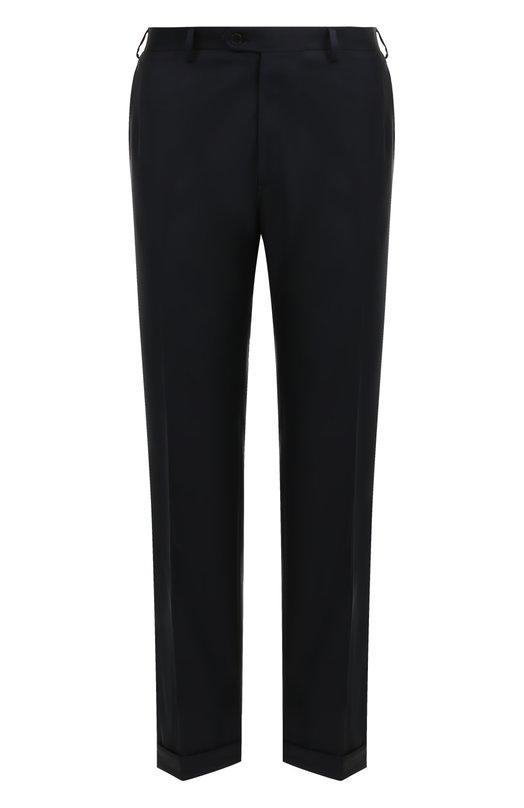 Купить Шерстяные брюки прямого кроя Brioni, RPL2/PZA0P/M0ENA, Италия, Темно-синий, Шерсть овечья: 100%; Подкладка-купра: 100%;