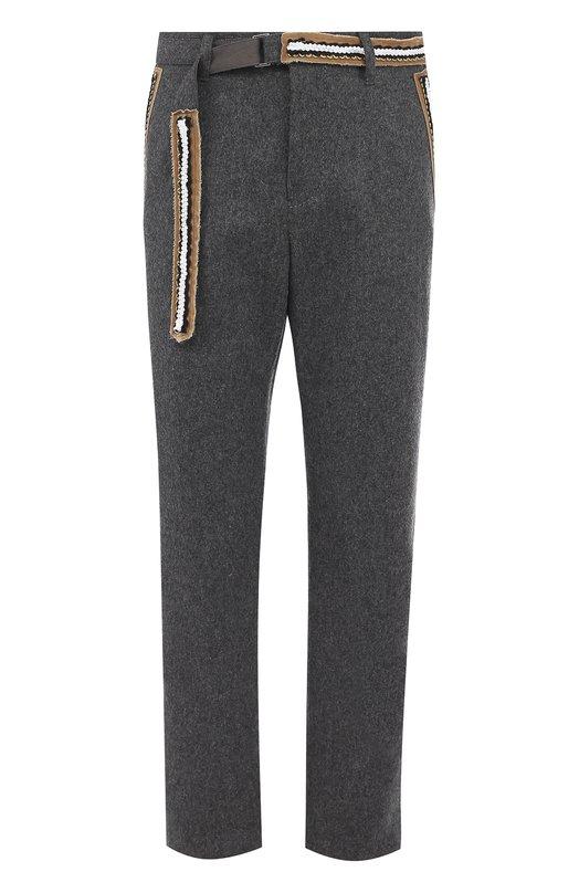 Купить Шерстяные брюки свободного кроя с контрастной отделкой Sacai Япония 5194025 17-01378M