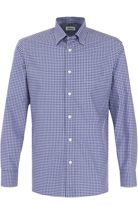 Купить Хлопковая рубашка в клетку Brioni, SC09/0603W, Италия, Голубой, Хлопок: 100%;