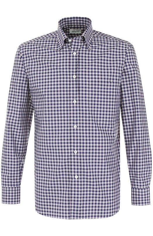Купить Хлопковая рубашка в клетку Brioni, SC09/0603X, Италия, Темно-синий, Хлопок: 100%;