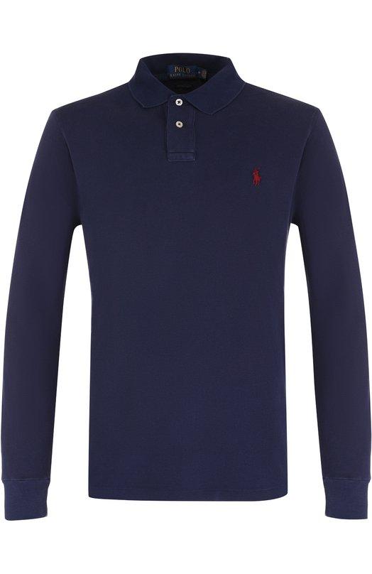Купить Хлопковое поло с длинными рукавами Polo Ralph Lauren, 710677297, Вьетнам, Темно-синий, Хлопок: 100%;