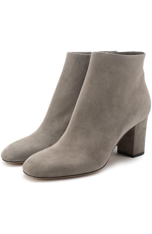 Купить Замшевые ботильоны на устойчивом каблуке Loro Piana, FAF8180, Италия, Серый, Стелька-кожа: 100%; Подошва-кожа: 100%; Замша натуральная: 100%;