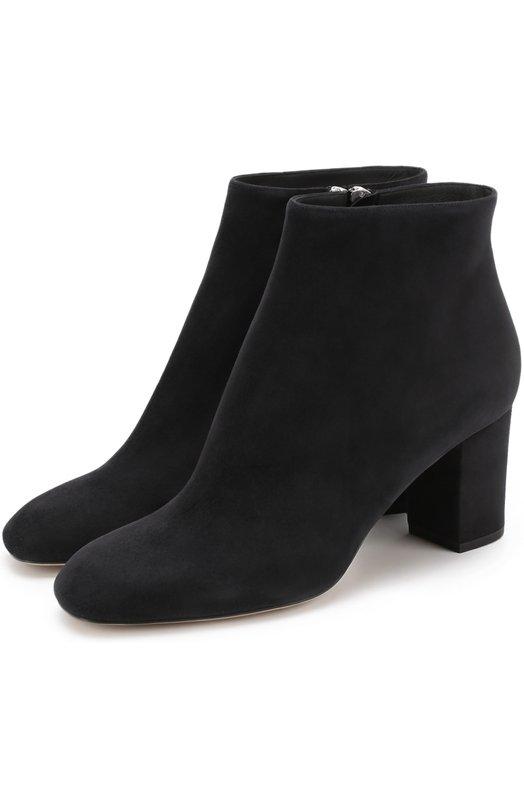 Купить Замшевые ботильоны на устойчивом каблуке Loro Piana, FAF8180, Италия, Темно-серый, Стелька-кожа: 100%; Подошва-кожа: 100%; Замша натуральная: 100%;