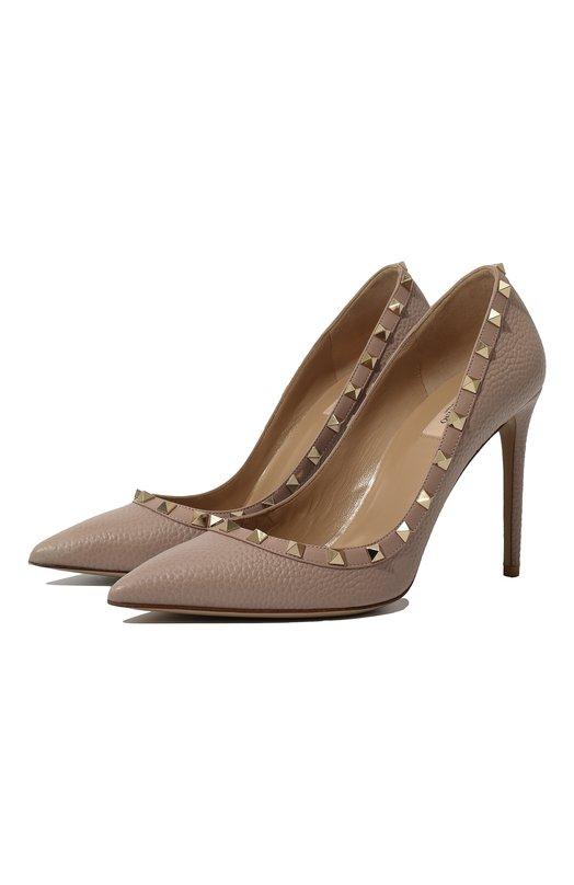 Купить Кожаные туфли Valentino Garavani Rockstud на шпильке Valentino, NW2S0057/VCE, Италия, Бежевый, Кожа натуральная: 100%; Стелька-кожа: 100%; Подошва-кожа: 100%;