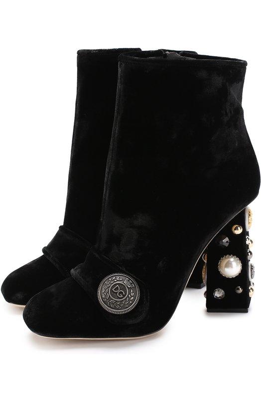 Купить Бархатные ботильоны Jackie на декорированном каблуке Dolce & Gabbana, 0112/CT0322/AM408, Италия, Черный, Вискоза: 82%; Шелк: 18%; Стелька-кожа: 100%; Подошва-кожа: 100%;