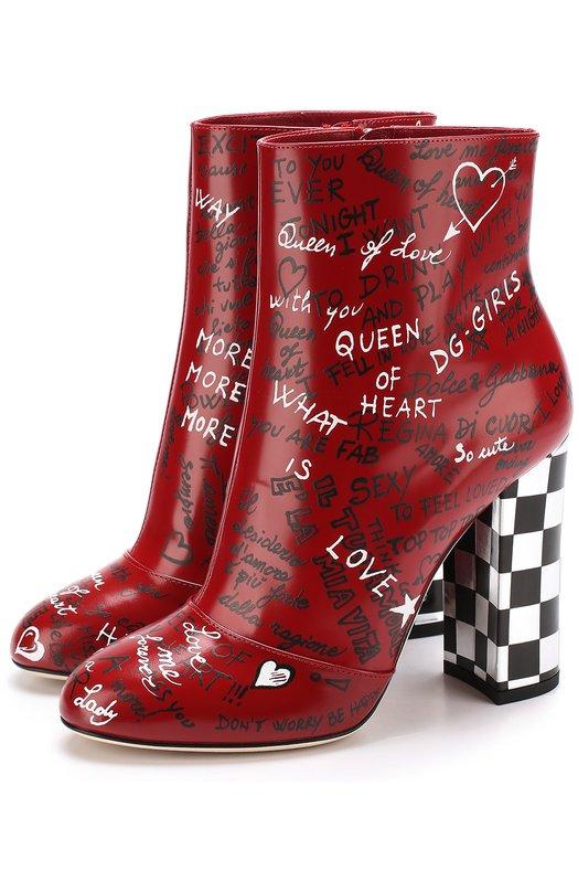 Кожаные ботильоны с принтом на устойчивом каблуке Dolce & Gabbana