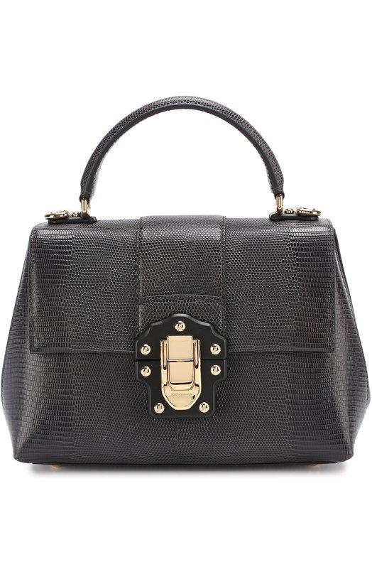 Купить Сумка Lucia из тисненой кожи Dolce & Gabbana, 0116/BB6312/A1095, Италия, Темно-серый, Кожа натуральная: 100%;