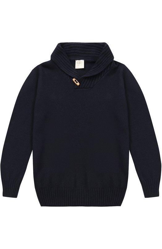 Купить Вязаный свитер с декоративной пуговицей Kuxo, P806-500/8A-12A, Италия, Темно-синий, Шерсть: 42%; Вискоза: 30%; Полиамид: 18%; Кашемир: 10%;
