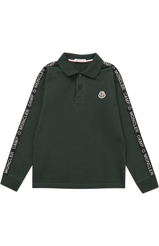 Купить Хлопковое поло с контрастной отделкой Moncler Enfant, C2-954-83083-05-84632/8-10A, Португалия, Темно-зеленый, Хлопок: 100%;