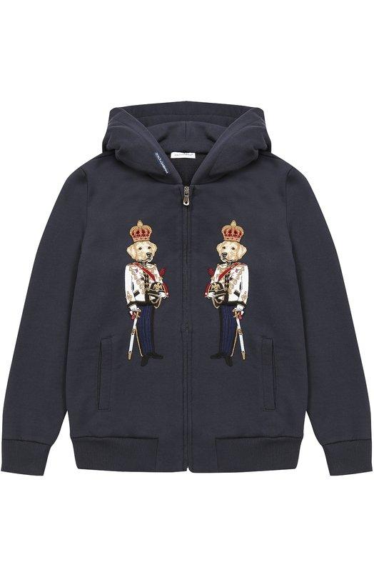 Купить Спортивный кардиган из хлопка с аппликациями Dolce & Gabbana, 0131/L4JW0H/G7LNX/8-12, Италия, Темно-синий, Хлопок: 100%;