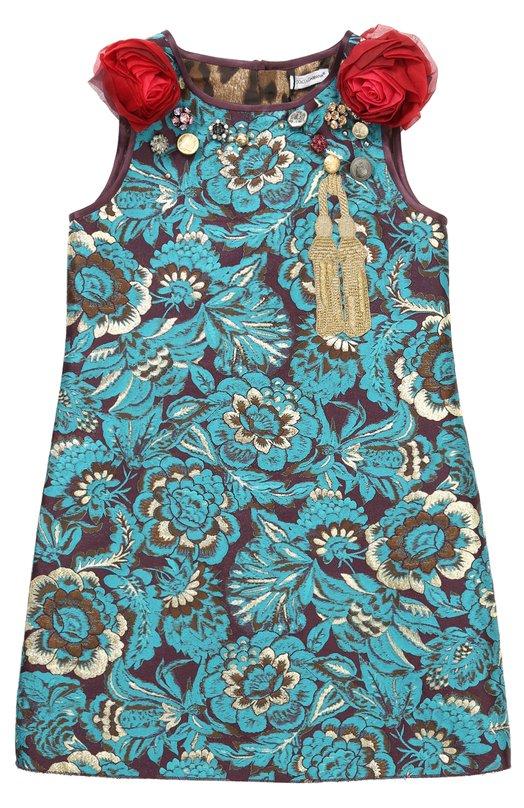 Купить Мини-платье с цветочными аппликациями и декором Dolce & Gabbana, 0131/L58D46/FJM2B/8-12, Венгрия, Зеленый, Шерсть: 5%; Полиэстер: 44%; Ацетат: 20%; Шелк: 19%; Акрил: 12%; Подкладка-вискоза: 100%;