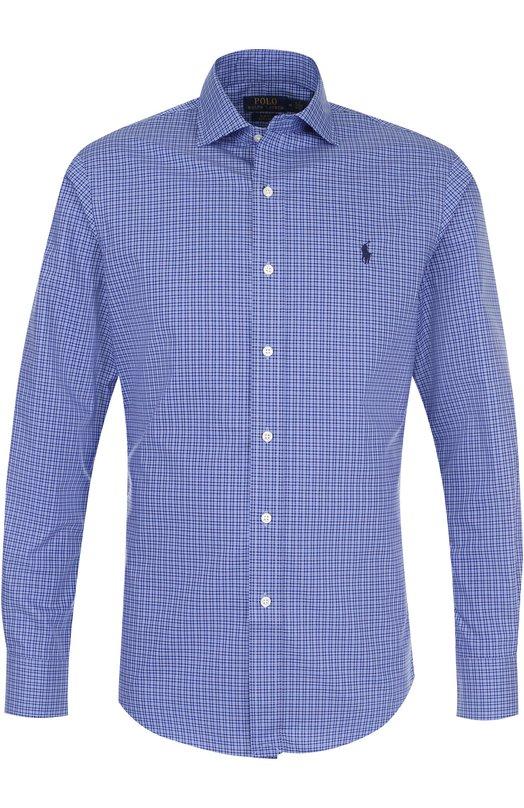 Купить Хлопковая сорочка с воротником кент Polo Ralph Lauren, 710672876, Китай, Синий, Хлопок: 100%;