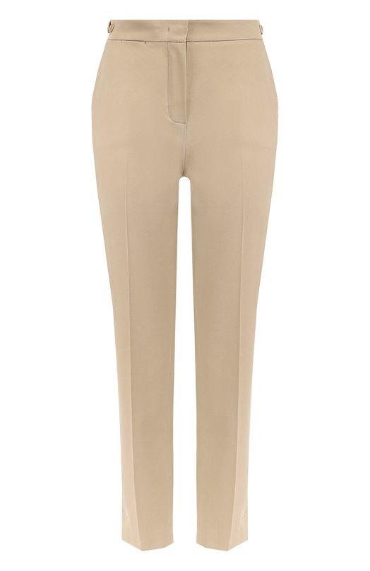 Купить Укороченные брюки прямого кроя со стрелками Loro Piana, FAF4054, Италия, Бежевый, Хлопок: 97%; Эластан: 3%;