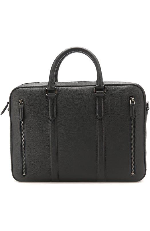 Купить Кожаный портфель для ноутбука с плечевым ремнем Ermenegildo Zegna, C1275D-T0E, Италия, Темно-синий, Кожа натуральная: 100%;