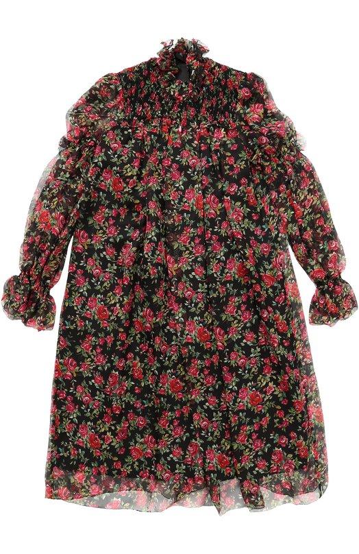 Купить Шелковое платье свободного кроя с принтом Dolce & Gabbana, 0131/L58D65/HS10J/8-12, Венгрия, Черный, Шелк: 100%;