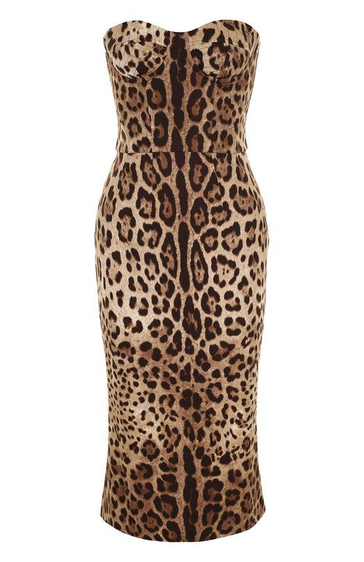 Купить Шелковое платье-бюстье с леопардовым принтом Dolce & Gabbana, 0102/F63V8T/FSADD, Италия, Леопардовый, Шелк: 95%; Подкладка-эластан: 9%; Подкладка-полиамид: 8%; Подкладка-полиэстер: 68%; Эластан: 5%; Подкладка-хлопок: 15%;