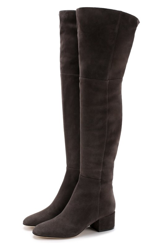 Купить Замшевые ботфорты на низком каблуке Sergio Rossi, A78350-MCAZ01, Италия, Серый, Стелька-кожа: 100%; Подошва-кожа: 100%; Замша натуральная: 100%;