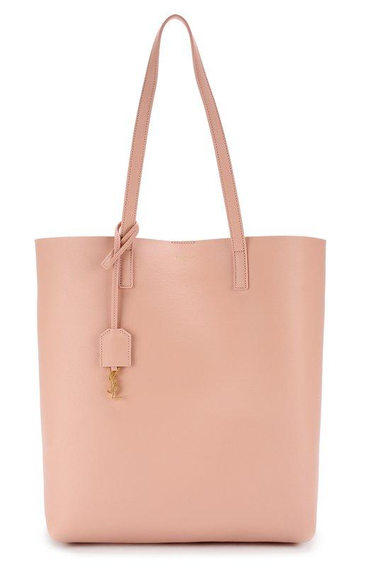 Купить Кожаная сумка-шоппер с косметичкой Saint Laurent, 454203/CSV0J, Италия, Светло-розовый, Кожа натуральная: 100%;
