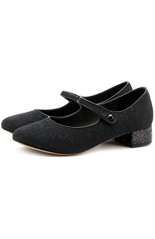 Купить Текстильные туфли с глиттером и ремешками Dolce & Gabbana, 0132/D10559/AS078/37-39, Италия, Черный, Полиэстер: 60%; Кожа натуральная: 5%; Полиуретан: 5%; Хлопок: 26%; Акрил: 2%; Стелька-кожа: 100%; Подошва-кожа: 100%; Подошва-резина: 100%;