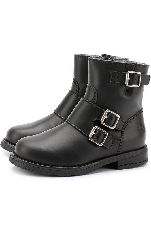 Кожаные ботинки с ремешками и внутренней меховой отделкой Il Gufo