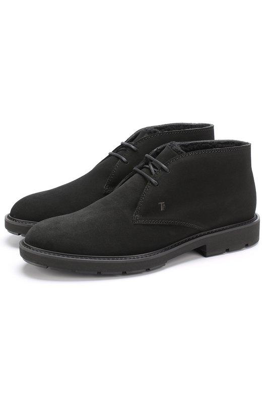 Купить Замшевые ботинки на шнуровке с внутренней меховой отделкой Tod's, XXM46A00D81HSEB999, Италия, Черный, Подошва-резина: 100%; Замша натуральная: 100%; Стелька-овчина: 100%;