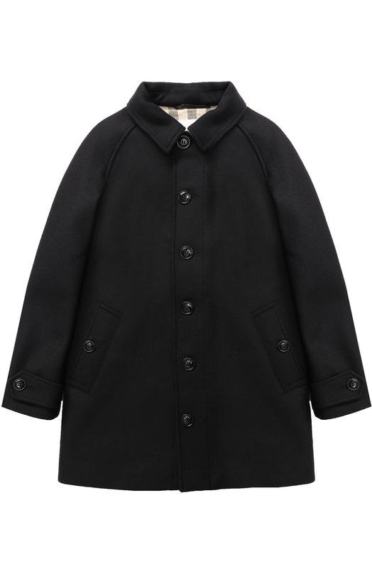 Однобортное пальто прямого кроя Burberry, 4051531, Таиланд, Темно-синий, Шерсть: 72%; Кашемир: 3%; Полиамид: 25%; Подкладка-хлопок: 100%;  - купить