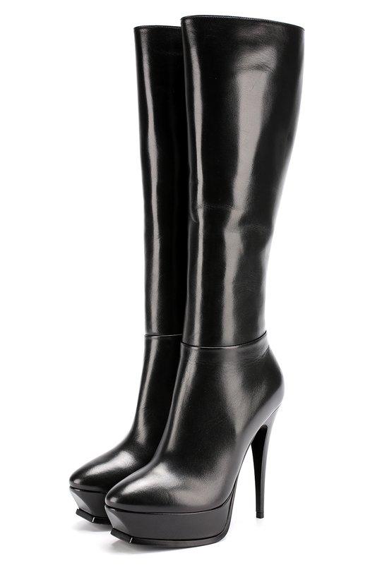 Купить Кожаные сапоги Tribute на шпильке и платформе Saint Laurent, 484771/AKP00, Италия, Черный, Кожа натуральная: 100%; Стелька-кожа: 100%; Подошва-кожа: 100%;