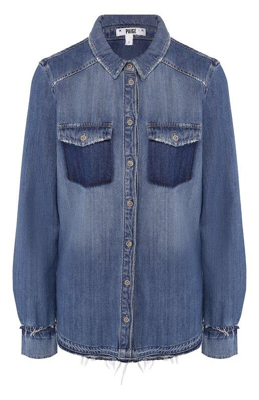Купить Джинсовая блуза прямого кроя с потертостями Paige, 3510712-4532/4352, Китай, Синий, Хлопок: 70%; Вискоза: 30%;