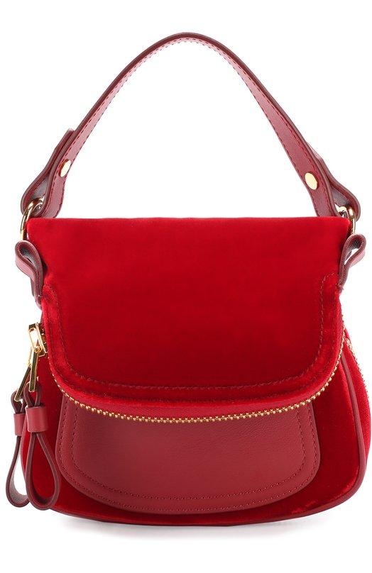 Купить Сумка Jennifer из бархата Tom Ford, L0965T-V02, Италия, Красный, Вискоза: 100%; Отделка кожа натуральная: 100%;