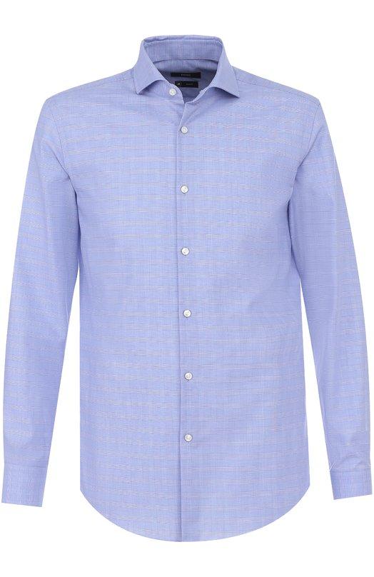 Купить Хлопковая сорочка с воротником акула BOSS, 50374761, Турция, Голубой, Хлопок: 100%;