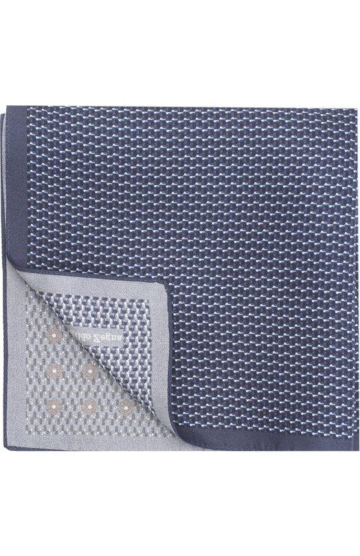 Купить Шелковый платок с принтом Ermenegildo Zegna, Z2I14/39A, Италия, Темно-синий, Шелк: 100%;