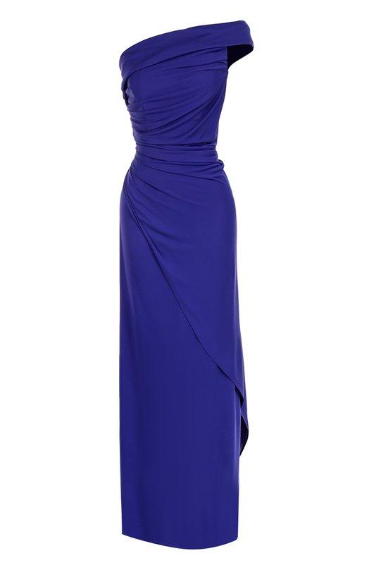 Купить Платье-макси с драпировкой и высоким разрезом Emilio Pucci, 76JL08/76630, Италия, Темно-синий, Вискоза: 83%; Шелк: 17%;