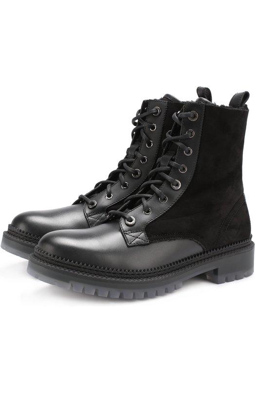 Высокие комбинированные ботинки на шнуровке с внутренней меховой отделкой Jimmy Choo