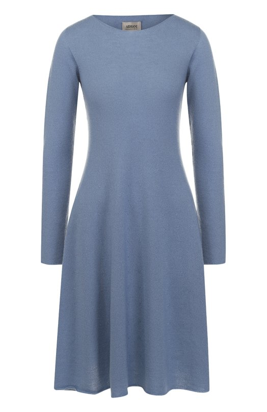 Купить Кашемировое платье-миди с длинным рукавом Armani Collezioni, 6YMA02/MM15Z, Италия, Голубой, Кашемир: 100%;