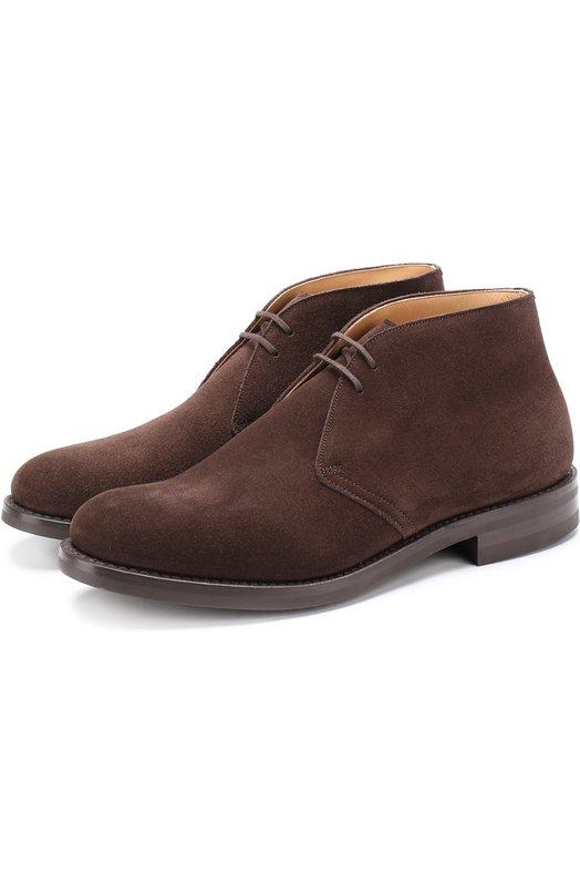 Купить Замшевые ботинки на шнуровке Church's, ETC001/9VE, Великобритания, Коричневый, Стелька-кожа: 100%; Подошва-резина: 100%; Замша натуральная: 100%;