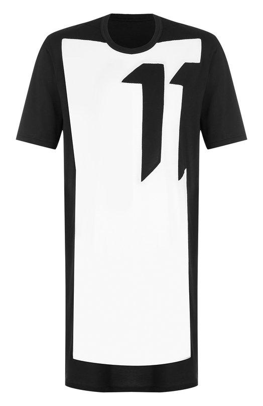 Купить Удлиненная хлопковая футболка с принтом 11 by Boris Bidjan Saberi, TS1BC/F-1101/F-1101/BL0CKCUT, Португалия, Черно-белый, Хлопок: 100%;