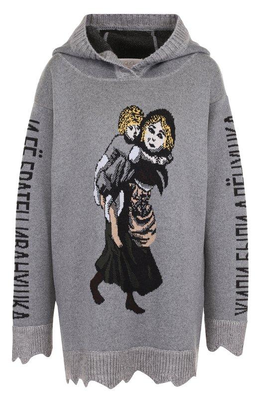 Шерстяной пуловер с принтом и капюшоном Tak.Ori SW129 W0100PF17