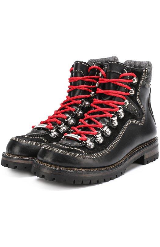Купить Кожаные ботинки на контрастной шнуровке Dsquared2 Италия 5196505 W17R203/1408