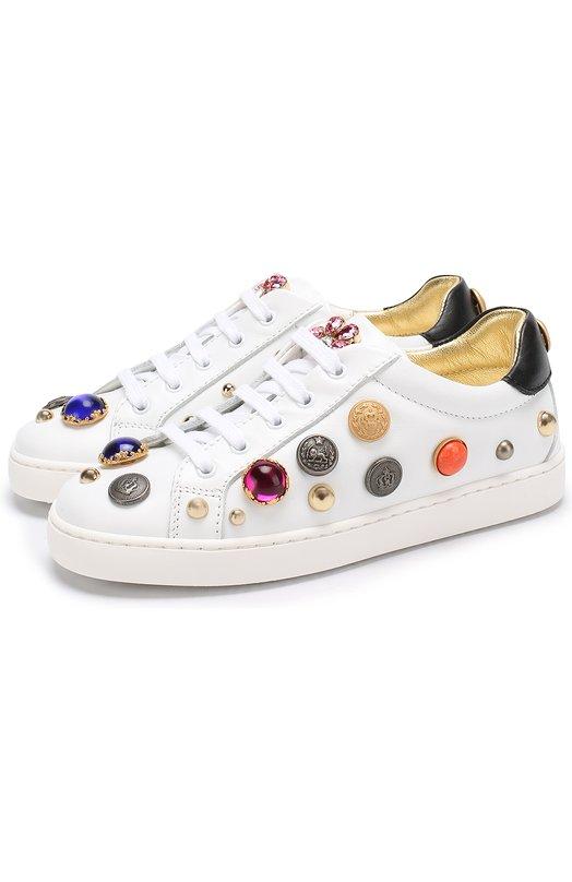Кожаные кеды с декором и кристаллами Dolce & Gabbana