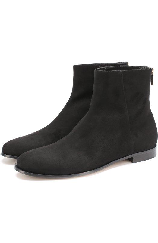Купить Замшевые ботильоны Duke на низком каблуке Jimmy Choo, DUKE FLAT/SUE, Италия, Черный, Подошва-резина: 80%; Подошва-кожа: 20%; Стелька-кожа: 100%; Замша натуральная: 100%;