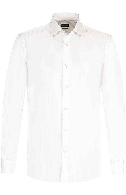 Купить Хлопковая сорочка с воротником кент Ermenegildo Zegna, 201063/9HS0MT, Швейцария, Белый, Хлопок: 100%;