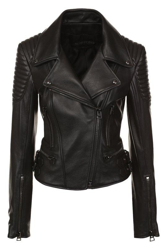 Приталенная кожаная куртка с косой молнией Tom Ford, GIL490-LEX107, Италия, Черный, Подкладка-шелк: 100%; Кожа натуральная: 100%;  - купить