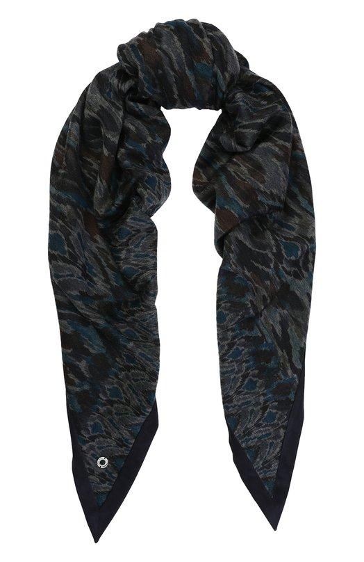 Купить Кашемировая шаль с замшевой отделкой Loro Piana, FAG3742, Италия, Темно-синий, Кашемир: 100%; Отделка замша натуральная: 100%;