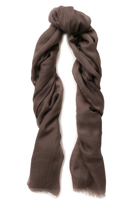 Купить Кашемировый шарф Fil And Fil с необработанным краем Loro Piana, FAG3858, Италия, Темно-бежевый, Кашемир: 100%;