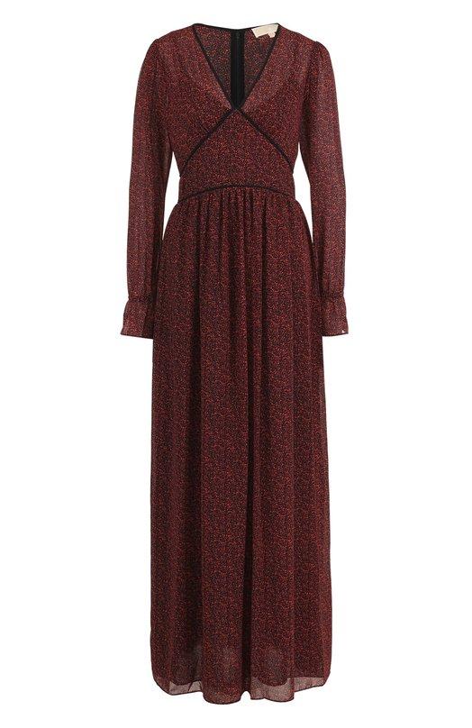 Купить Приталенное платье-макси с V-образным вырезом MICHAEL Michael Kors, MU78X2Z6PX, Китай, Красный, Полиэстер: 100%; Подкладка-полиэстер: 100%;