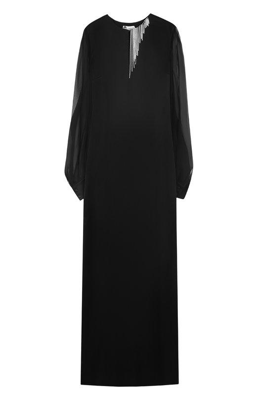 Приталенное платье-макси с прозрачными рукавами Lanvin