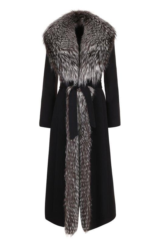 Купить Шерстяное пальто с отделкой из меха лисы Simonetta Ravizza, M0NT3/NA00, Италия, Черный, Шерсть: 100%; Отделка мех./лиса/: 100%;