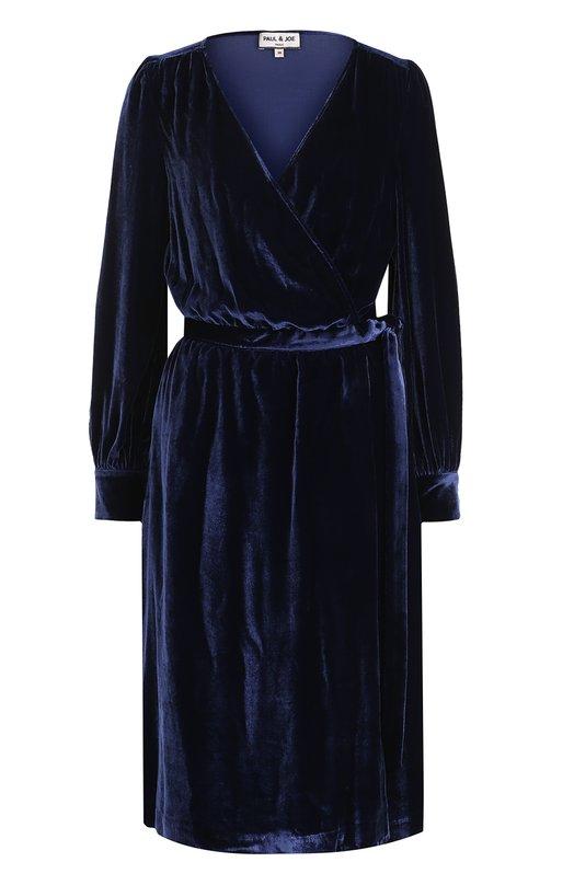 Купить Бархатное платье-миди и с запахом Paul&Joe, GG0THIC, Франция, Темно-синий, Вискоза: 82%; Шелк: 18%;
