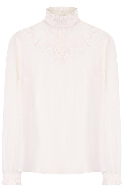 Купить Шелковая блуза с кружевной вставкой и воротником-стойкой Paul&Joe, GCAVALIER, Индия, Белый, Шелк: 100%; Отделка-полиамид: 100%;